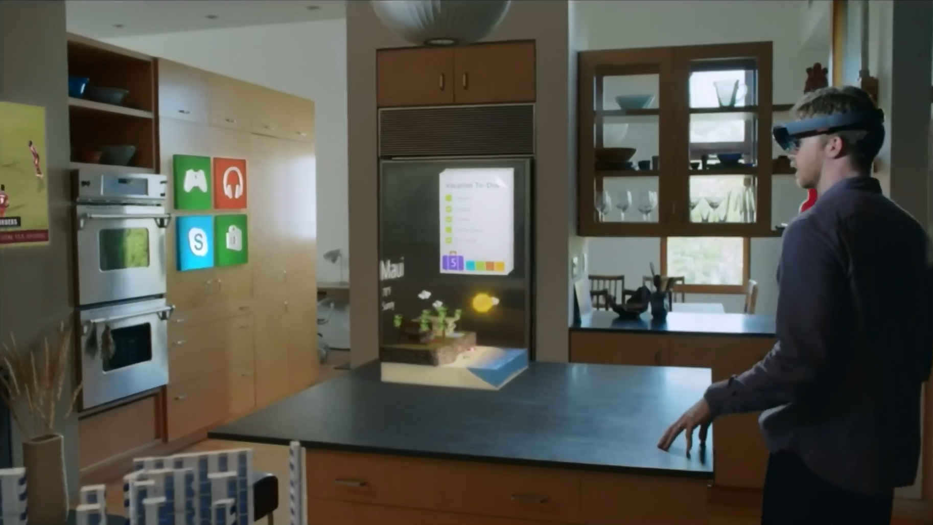 Microsoft announces augmented reality hololens glasses for The living room channel 10 studio audience
