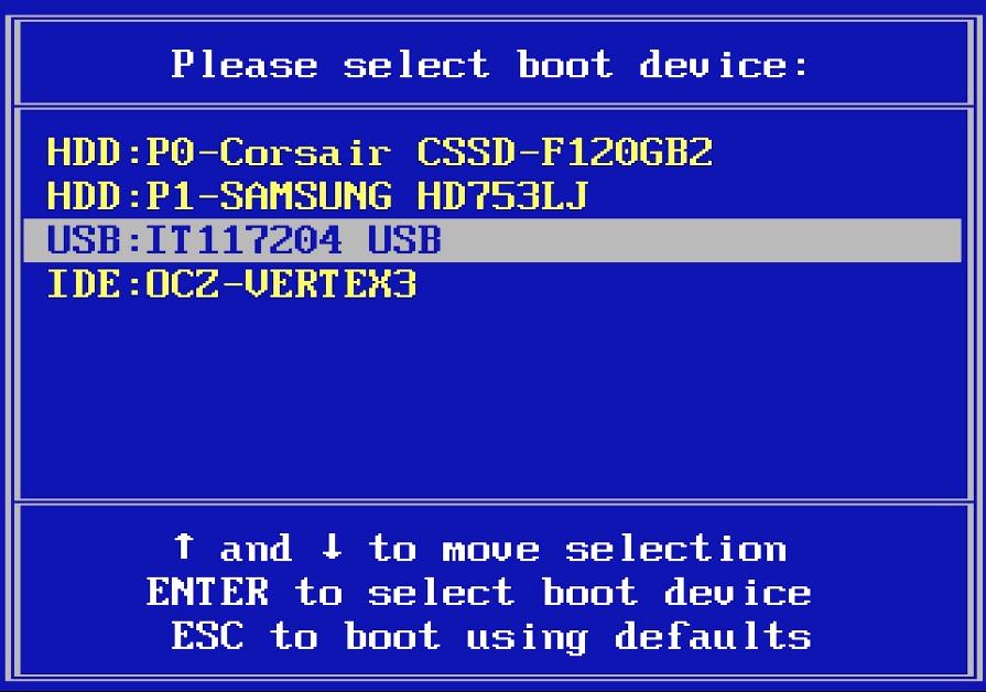 Boot menu в Dell Inspiron