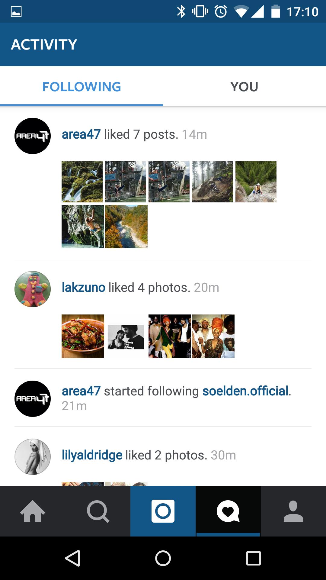 Instagram Activity Following