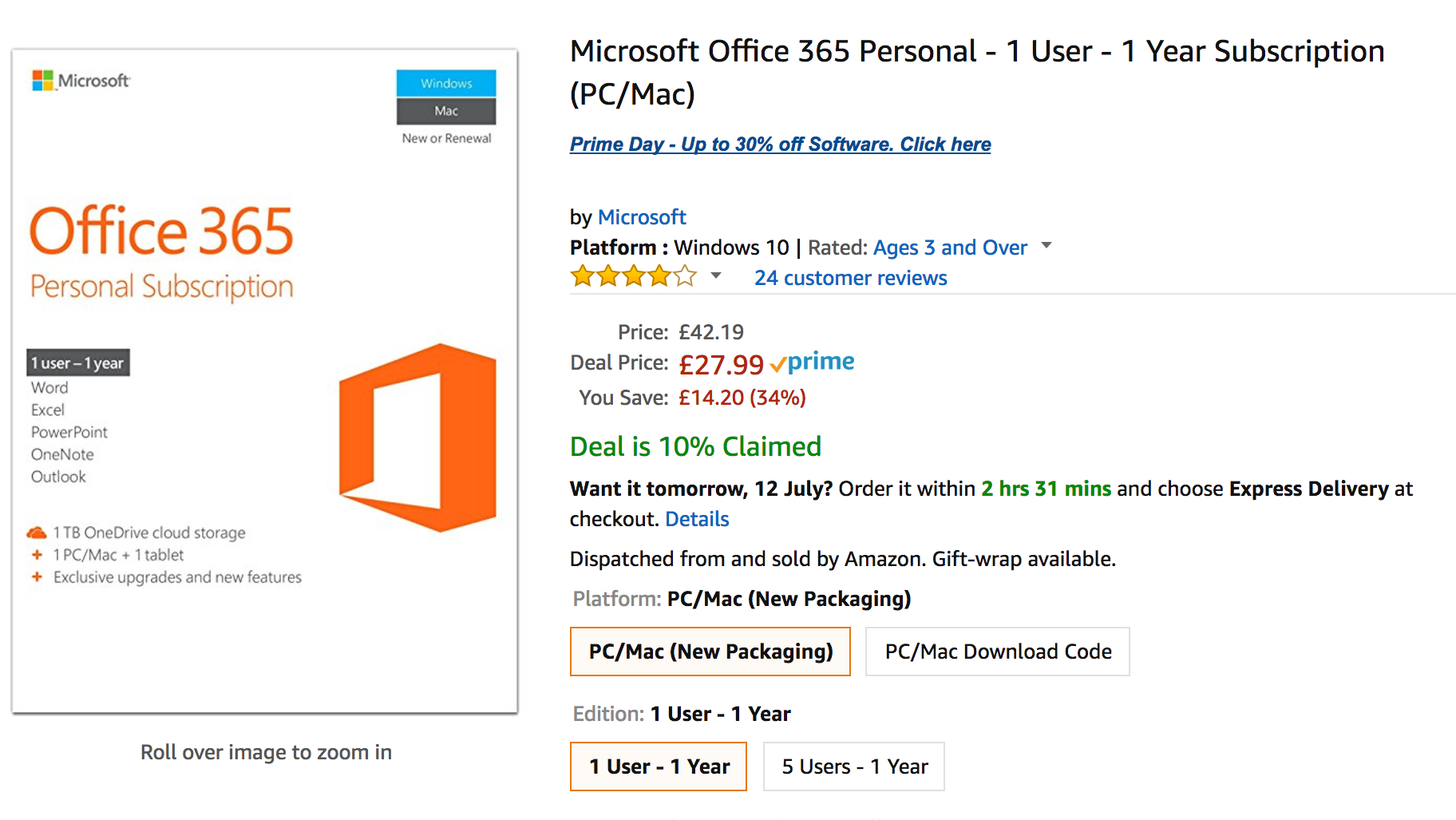4 best prime day software deals 34 off microsoft office 365 personal expert reviews. Black Bedroom Furniture Sets. Home Design Ideas