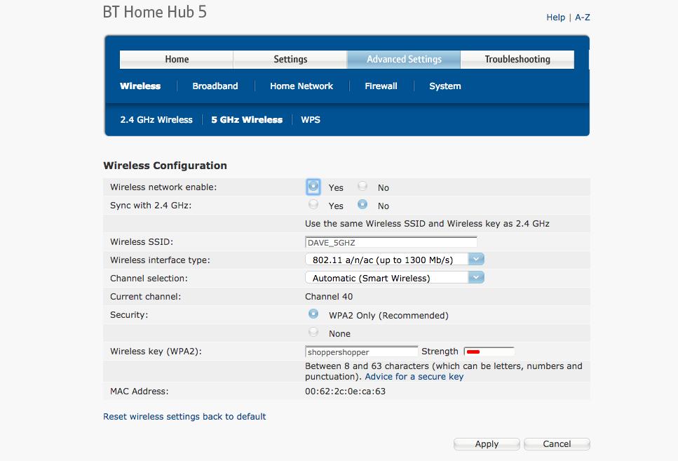 Bt Home Hub Wireless Settings