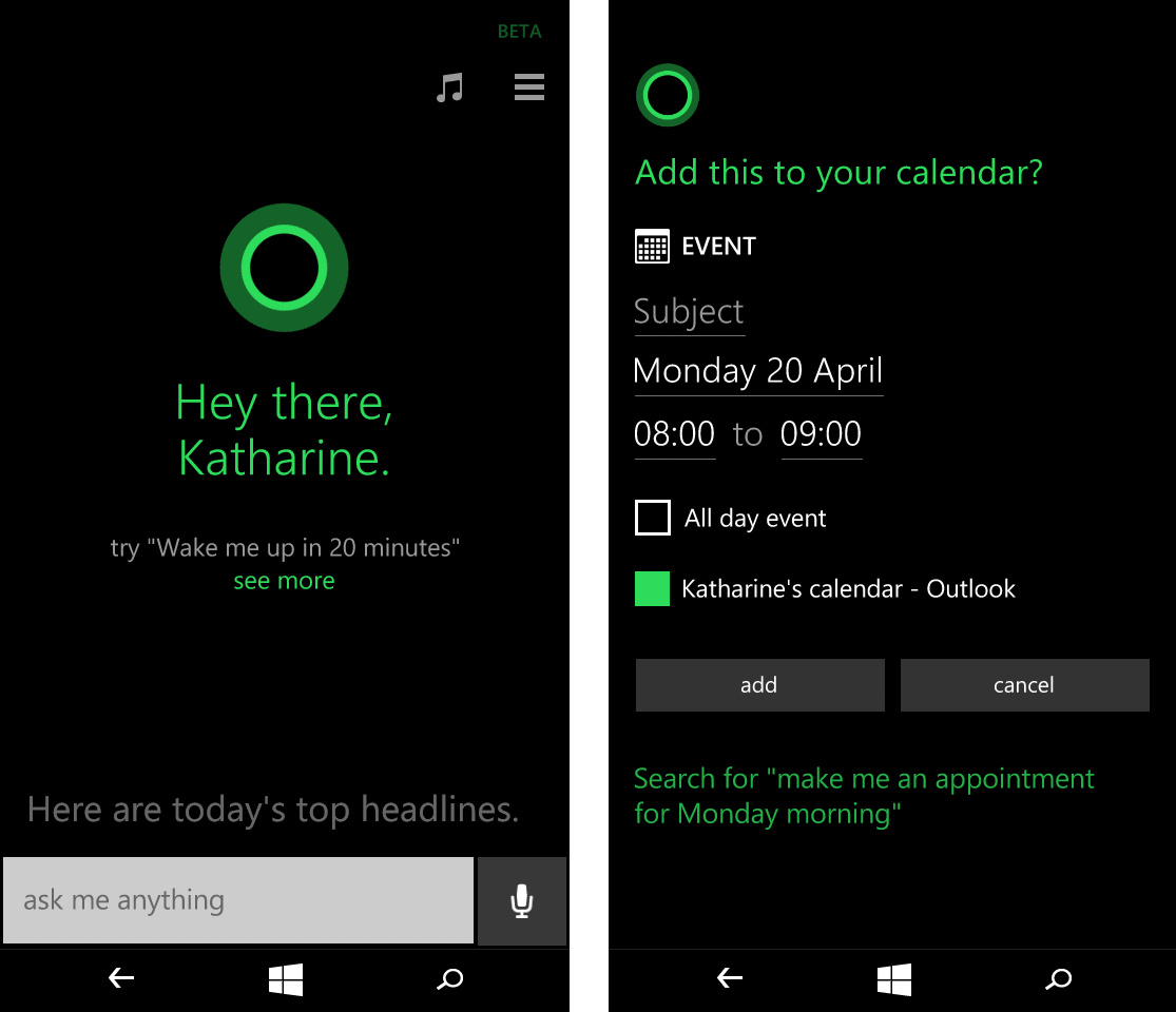 Microsoft lumia 535 dual sim white quad core 1 2ghz unlocked cell - Microsoft Lumia 535 Cortana Screenshots