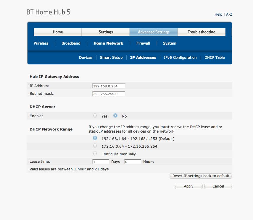 Dhcp Bt Home Hub