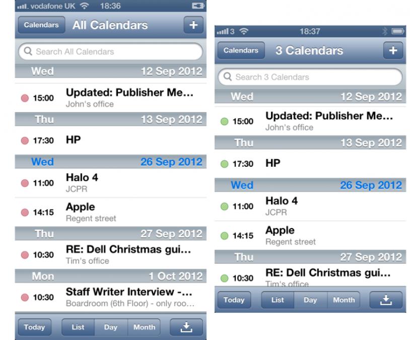 Apple iPhone 5 calendar comparison