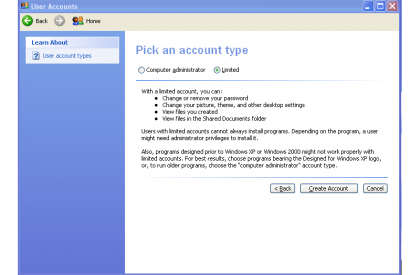 Windows XP Limited Account