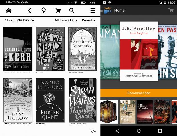 Kindle eReader and app screenshots