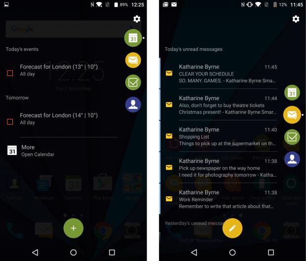 BlackBerry Priv Productivity Tab screenshot