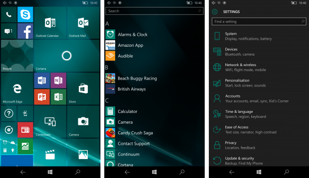 Windows 10 Mobile Start, Apps, Settings screenshot