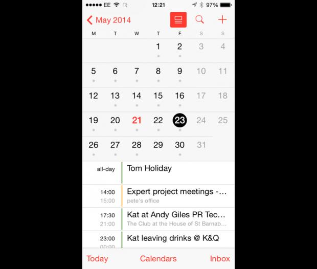iOS 7.1 calendar