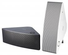Samsung SHAPE M5 speakers front black and white