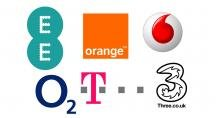 EE, O2, Orange, T-Mobile, Three, Vodafone logos