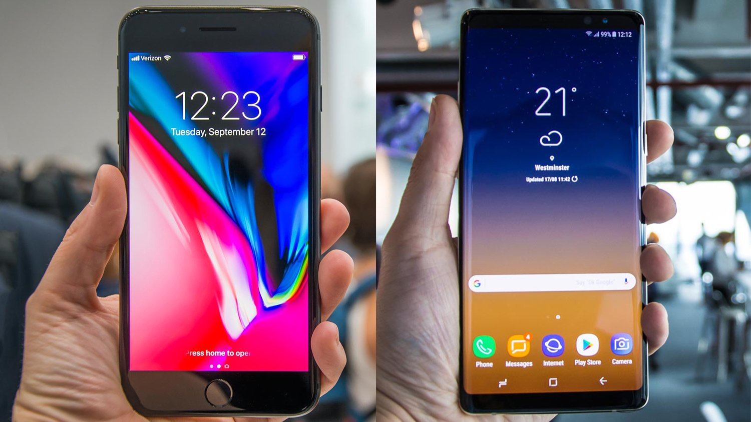 Samsung Galaxy Note 8 Vs Iphone 8 Plus Battle Of The Palm Stretchers Expert Reviews