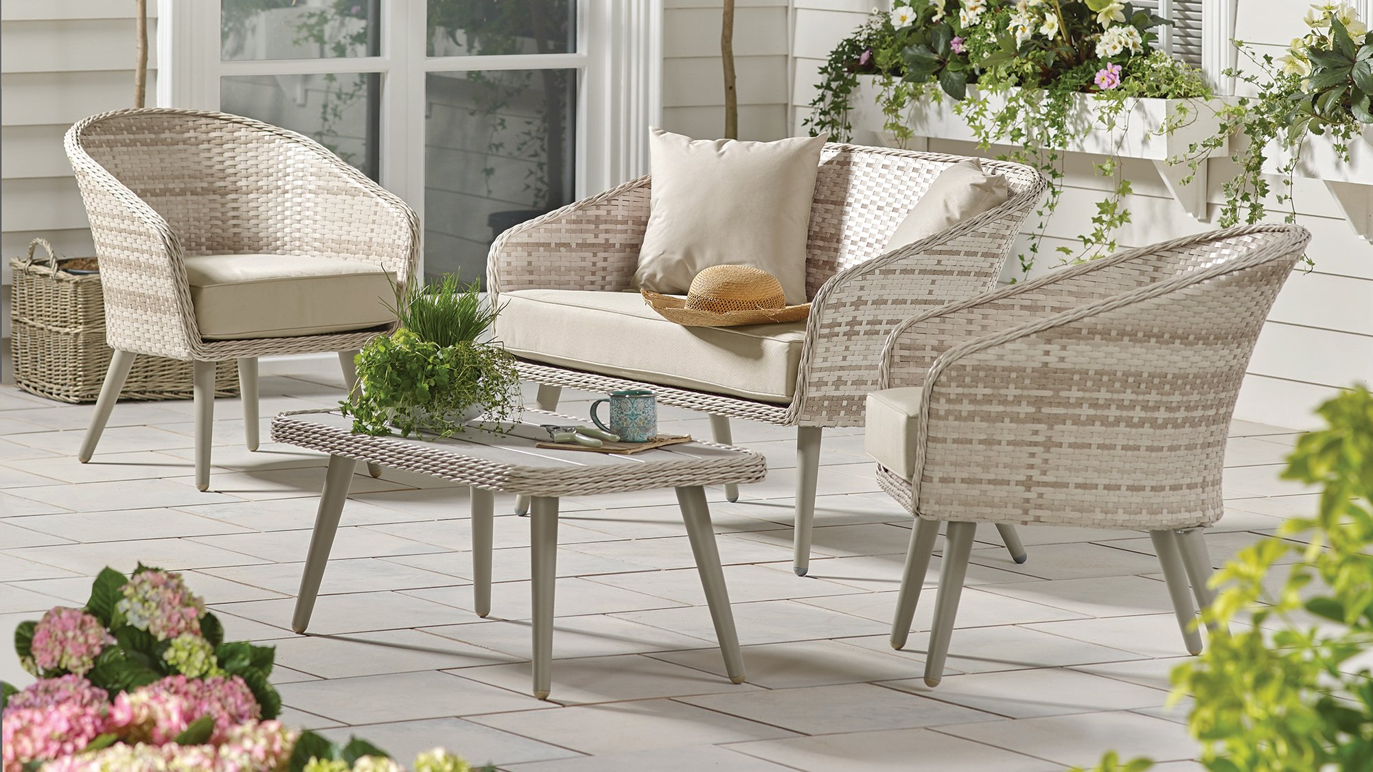 f2dc595b6aee It's the calming tones of this conversation set that stand out, comprising  two chairs, a sofa and coffee table. It's compact enough to fit into  smaller ...