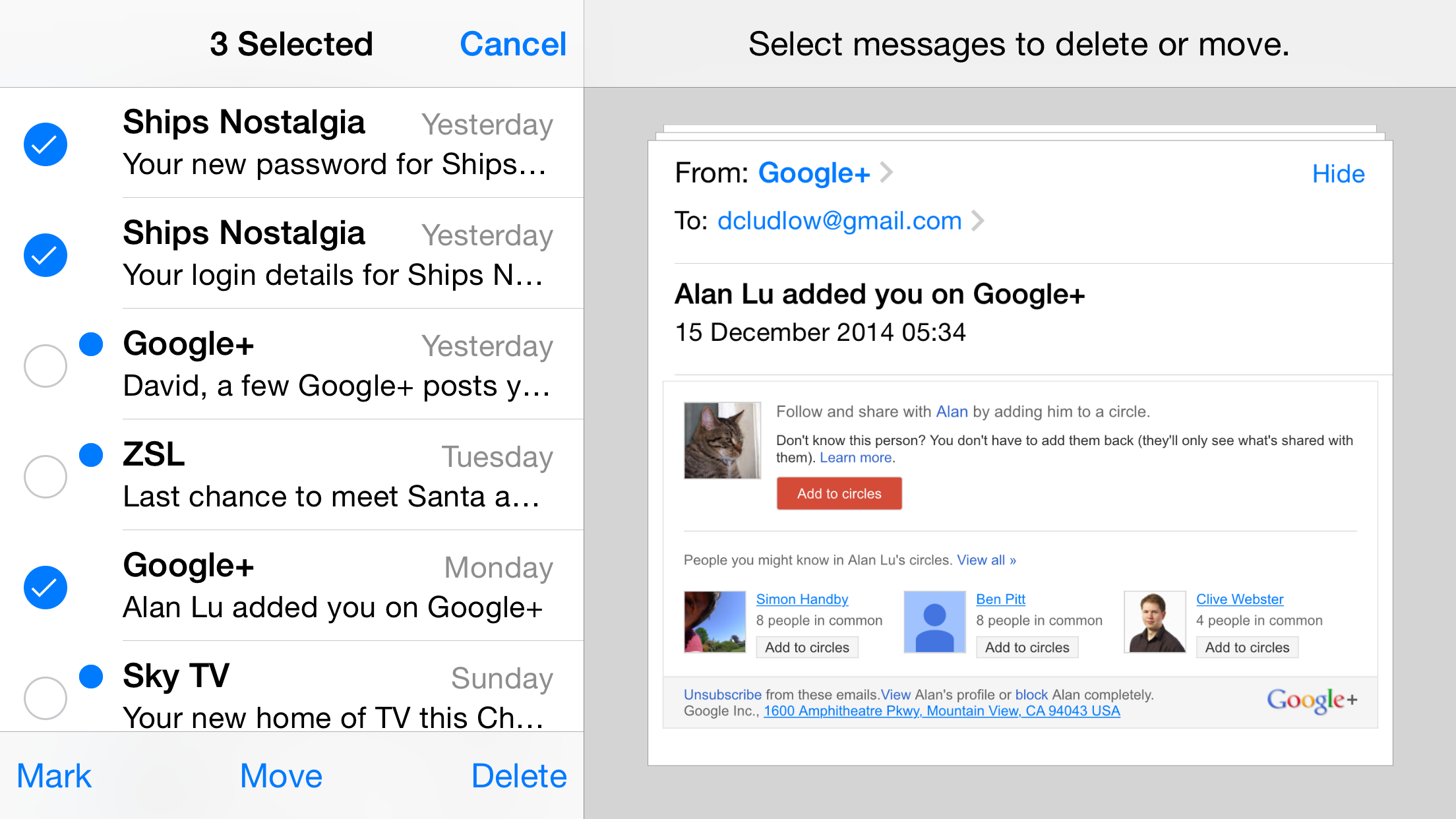 How to delete multiple messages in gmail app