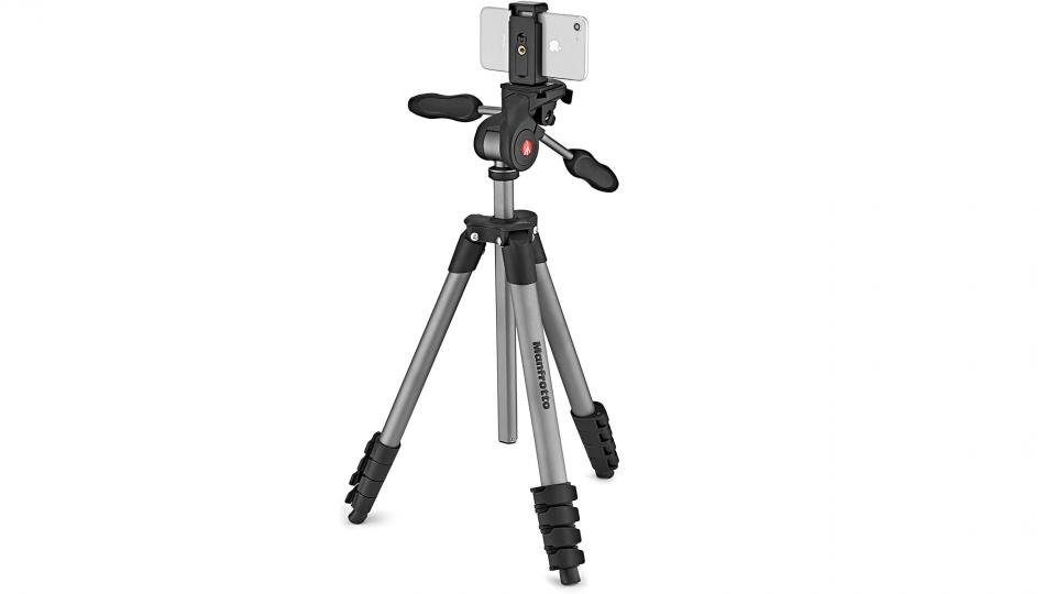 Manfrotto Compact Advanced tripod with smartphone clamp for iPhone