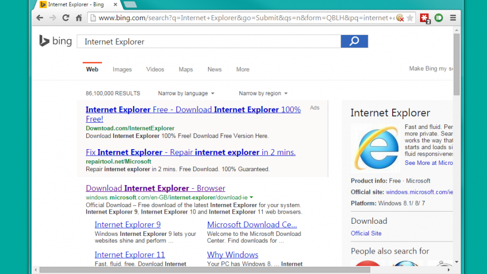 Bing ads link to adware-infested Internet Explorer as sponsored