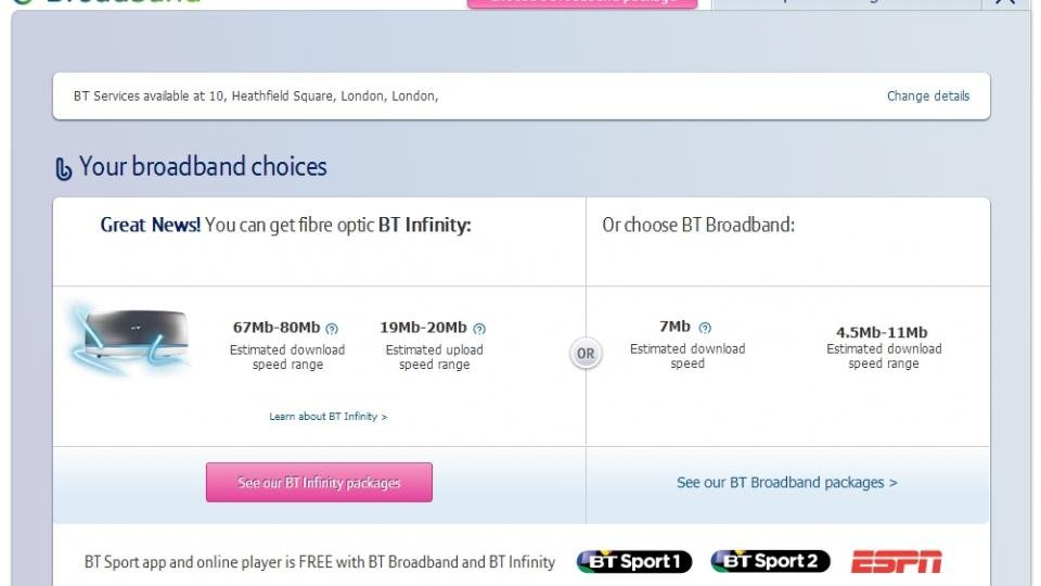 Of course BT's broadband speed checker doesn't work
